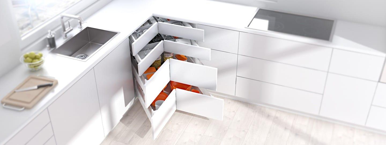 Mobile d\'angolo SPACE CORNER per gli utensili da cucina | Blum